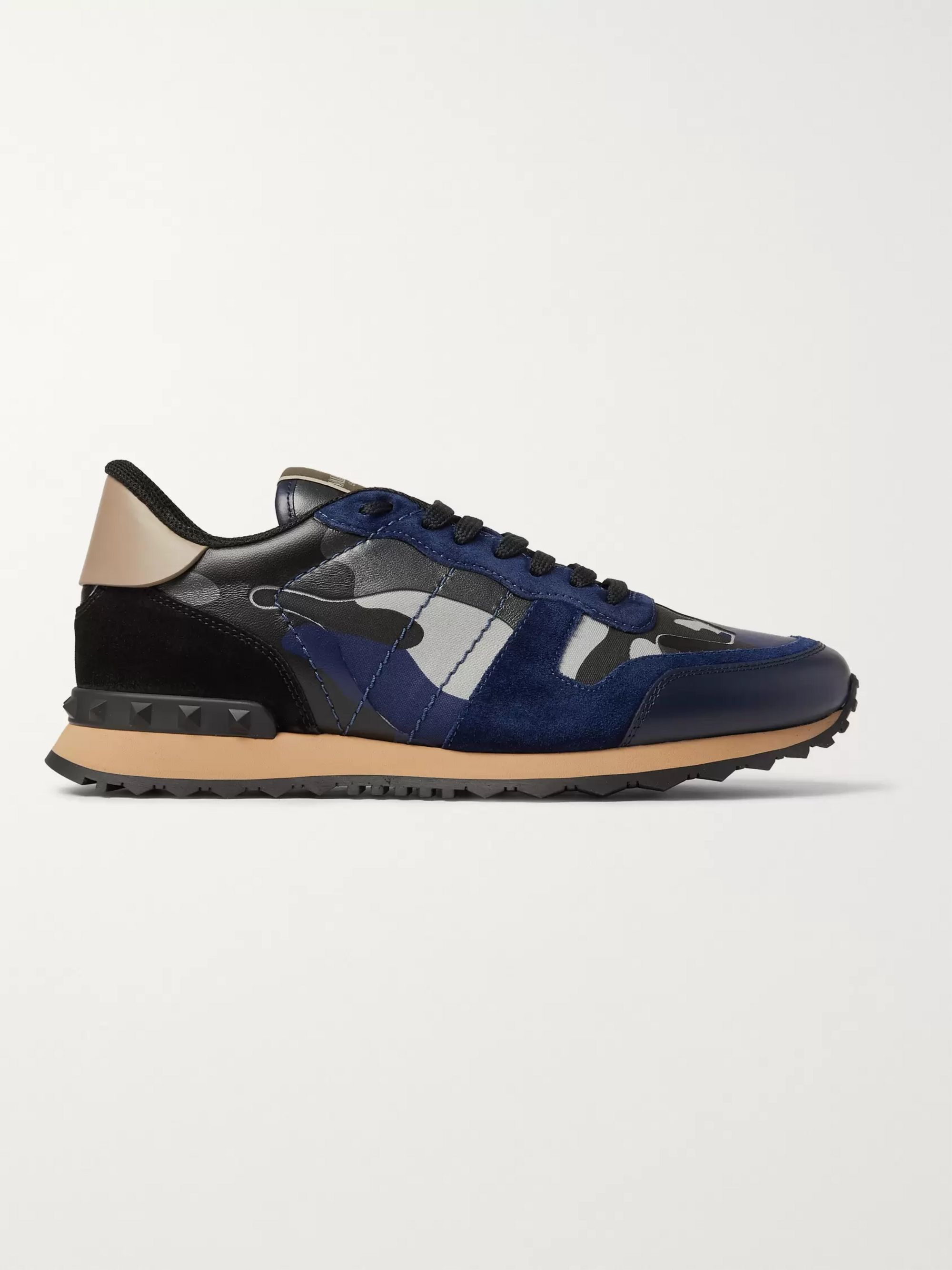 Valentino Valentino Garavani Rockrunner Metallic Camouflage-Print Canvas, Leather and Suede Sneakers