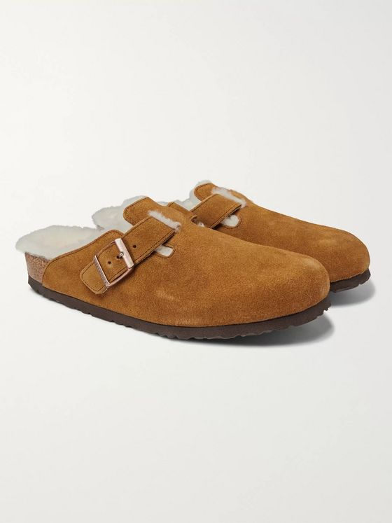 Birkenstock Boston Shearling-Lined Suede Sandals