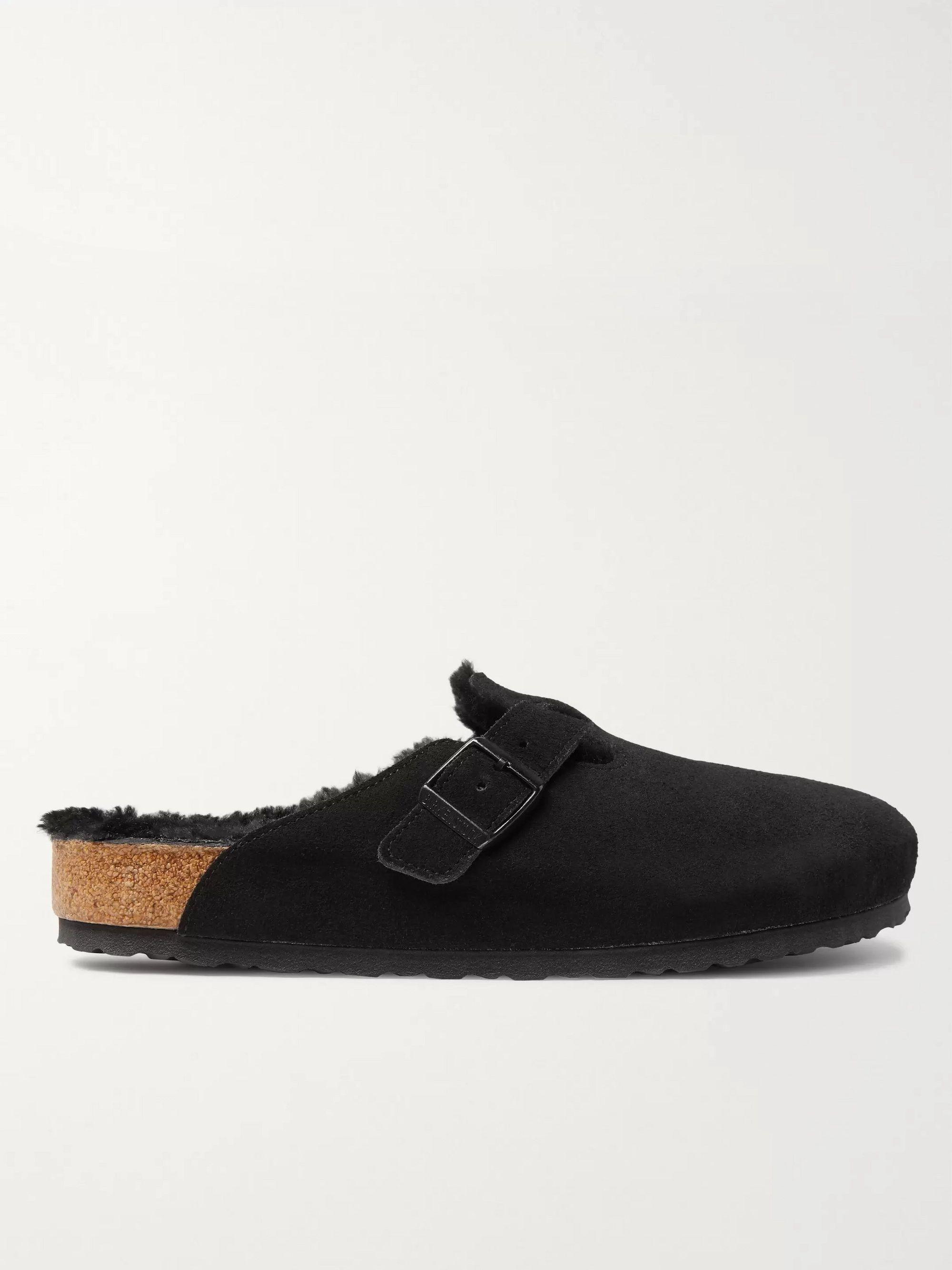 Birkenstock Boston Shearling-Lined Suede Sandals,Black
