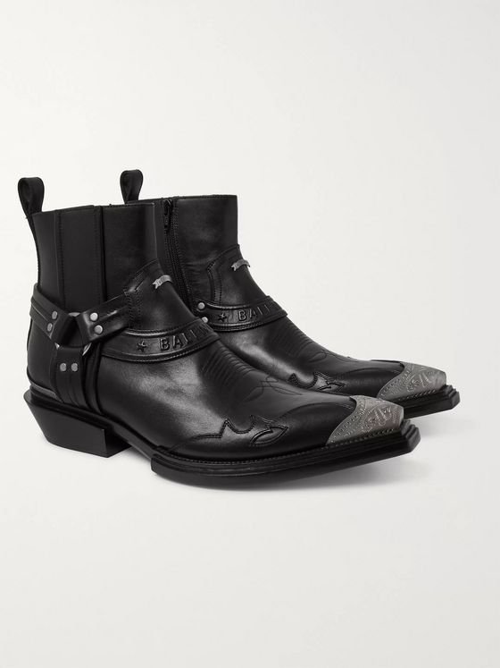 Balenciaga Santiag Embellished Leather Boots