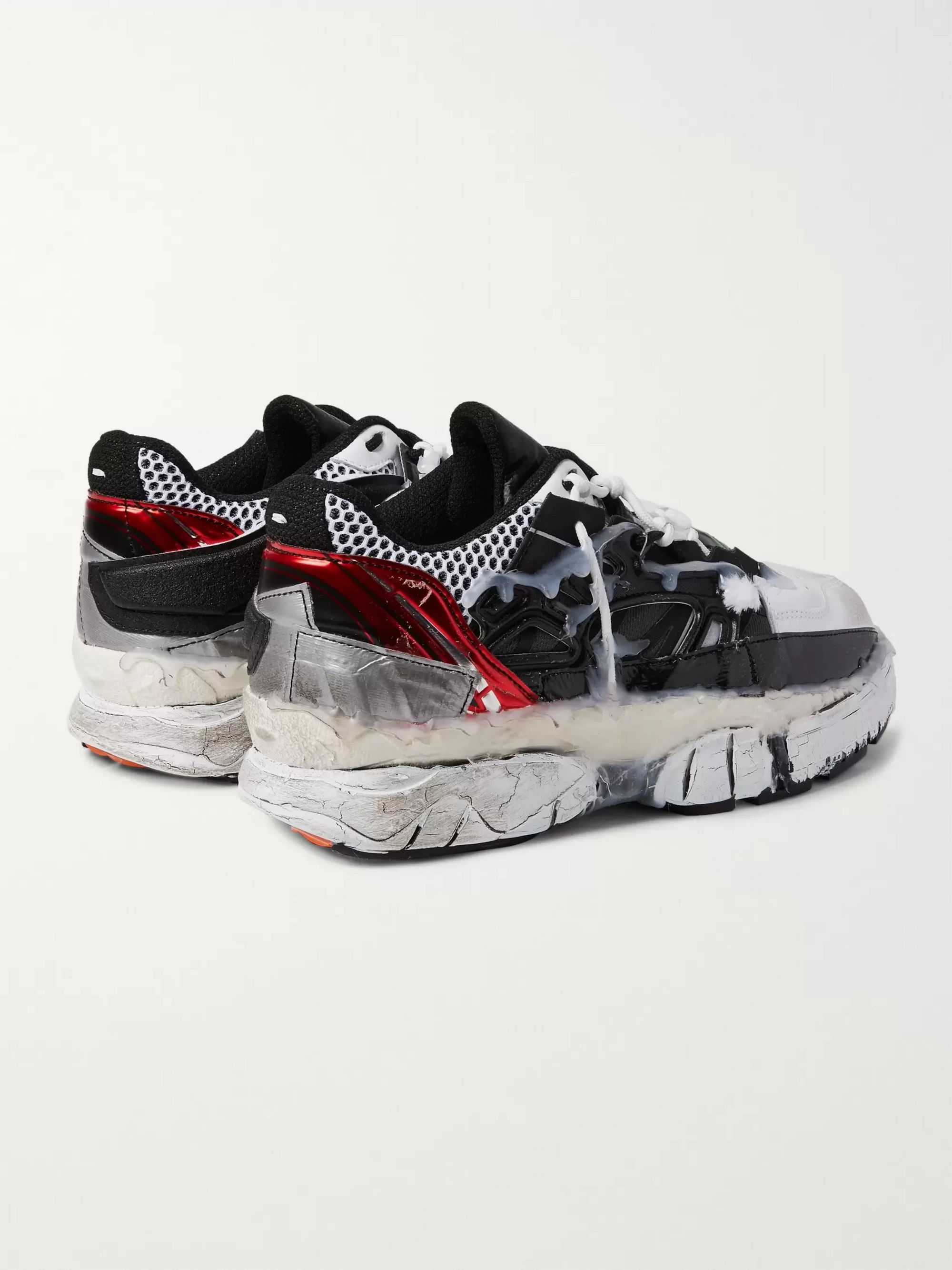 Maison Margiela Fusion Distressed Rubber-Trimmed Leather Sneakers