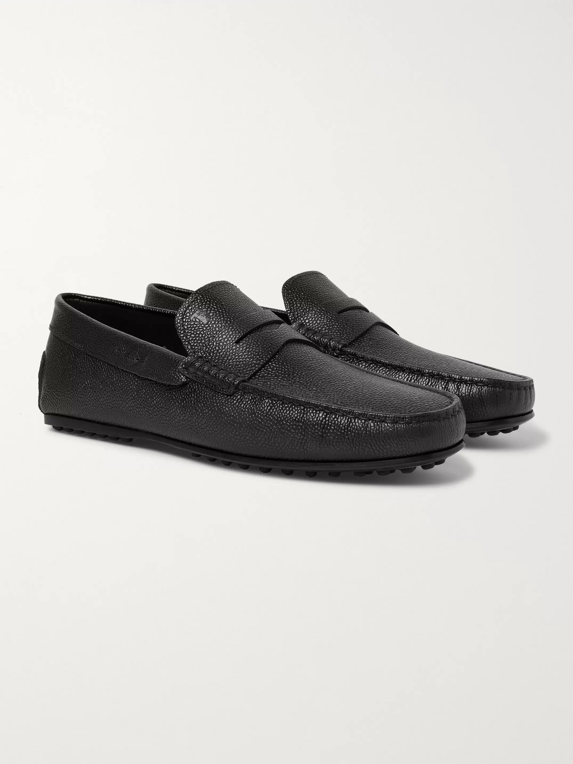 Tod's City Gommino Pebble-Grain Leather Penny Loafers