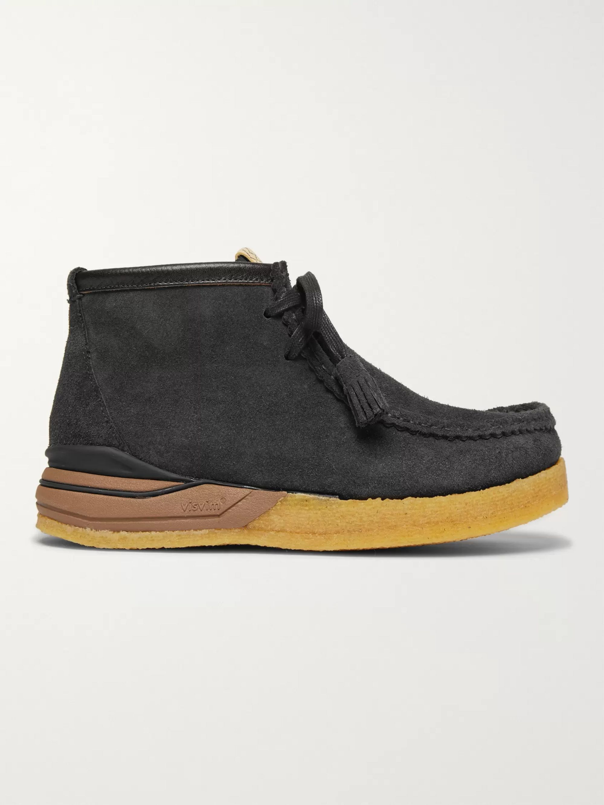 visvim Beuys Trekker Folk Leather-Trimmed Suede Boots