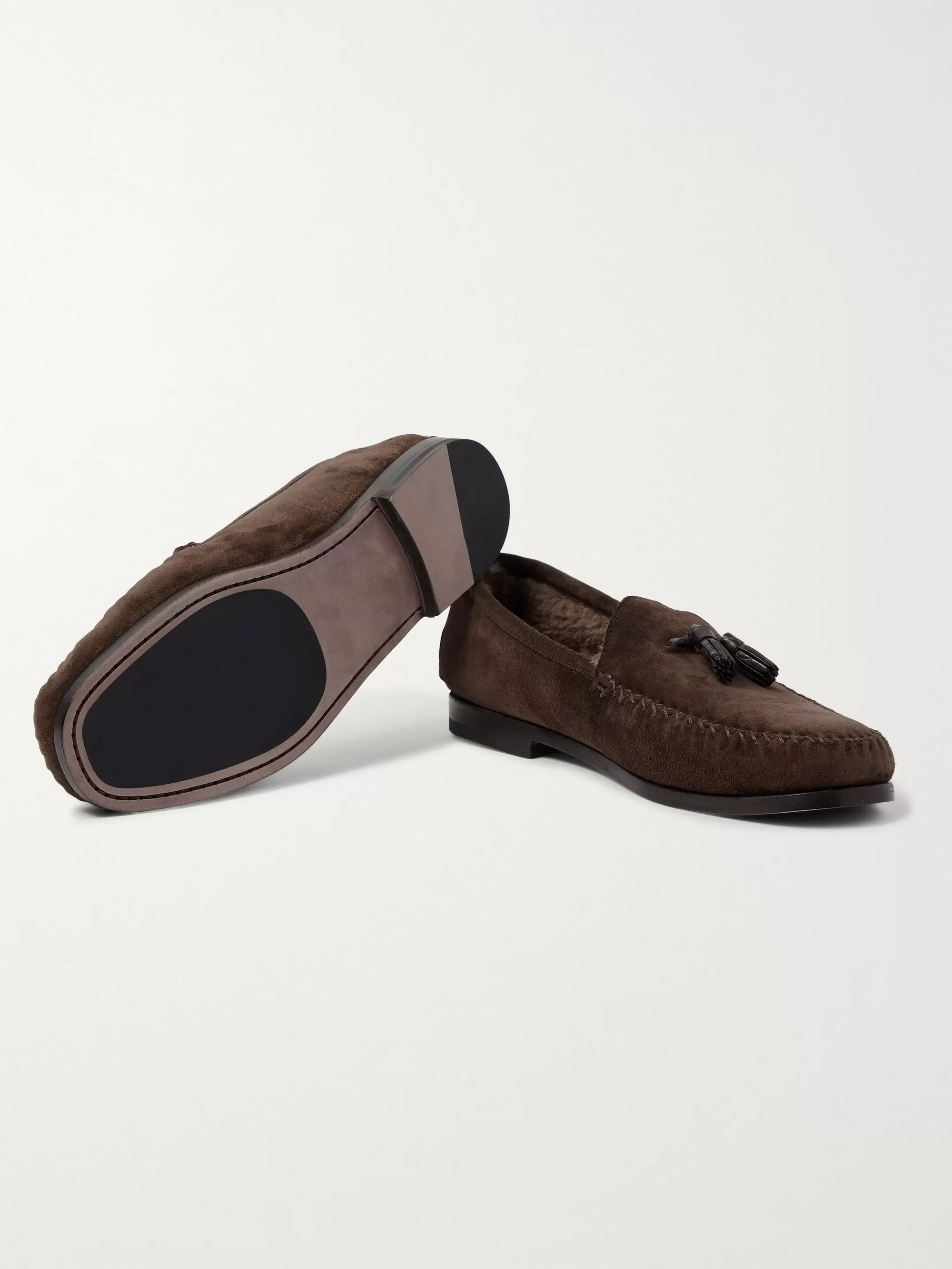 TOM FORD Barnet Shearling-Lined Suede Tasseled Slippers