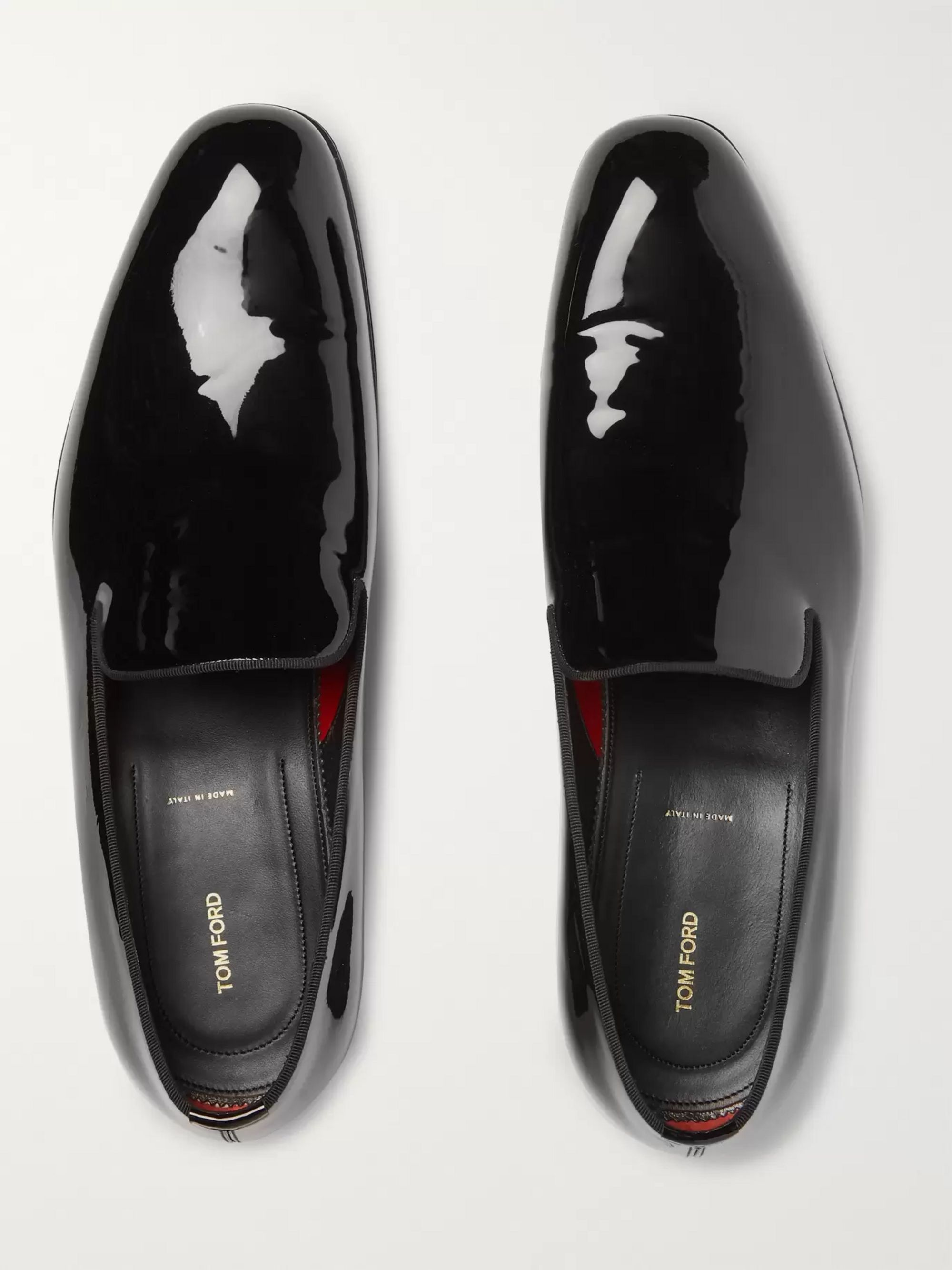 TOM FORD Edgar Grosgrain-Trimmed Patent-Leather Loafers