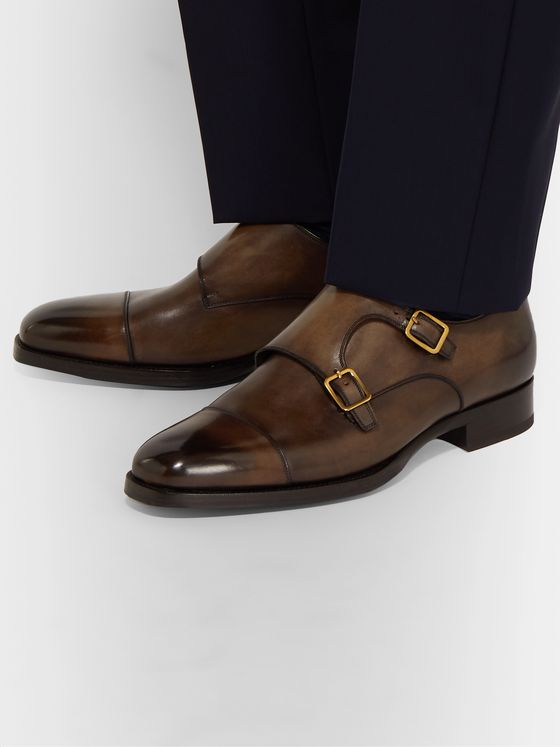 TOM FORD Wessex Leather Monk-Strap Shoes