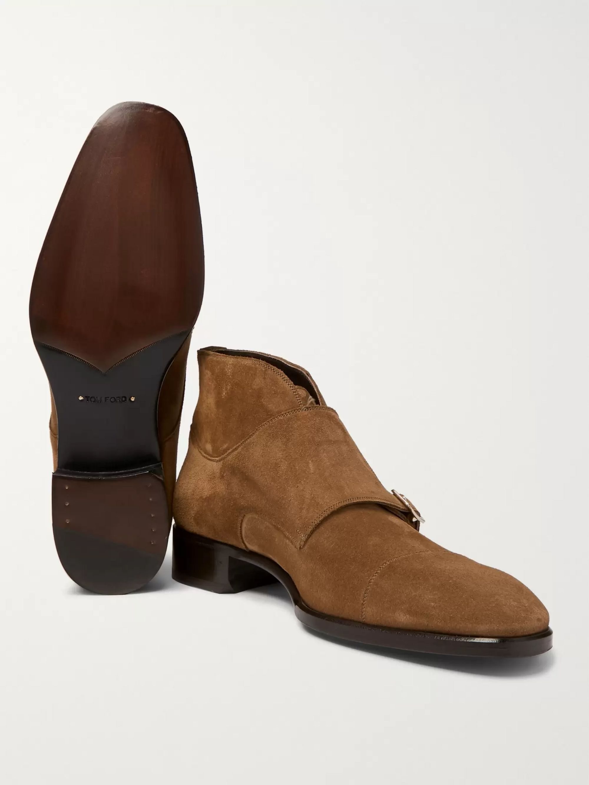TOM FORD Sutherland Suede Monk-Strap Boots