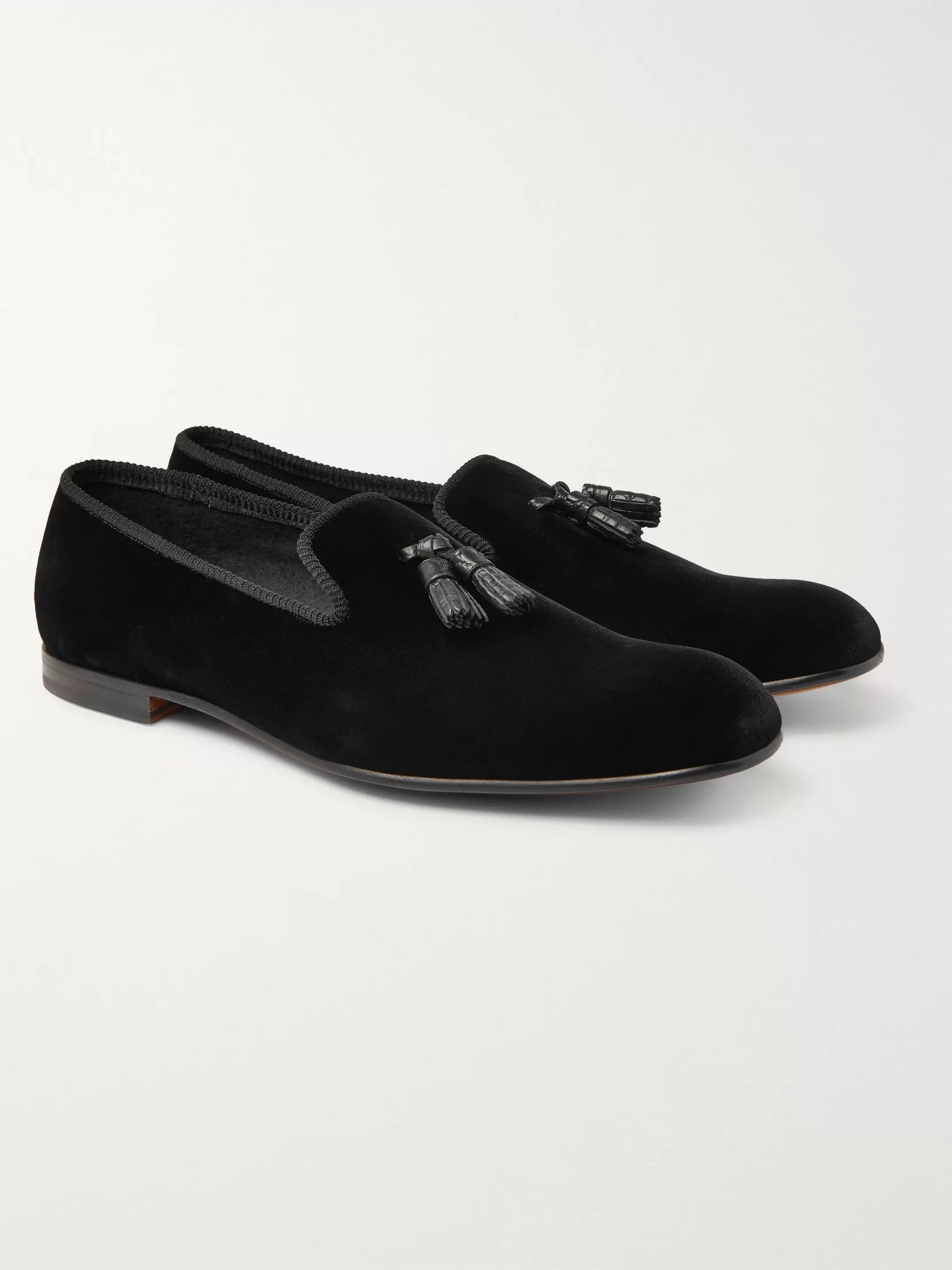 TOM FORD William Leather-Trimmed Velvet Tasselled Loafers