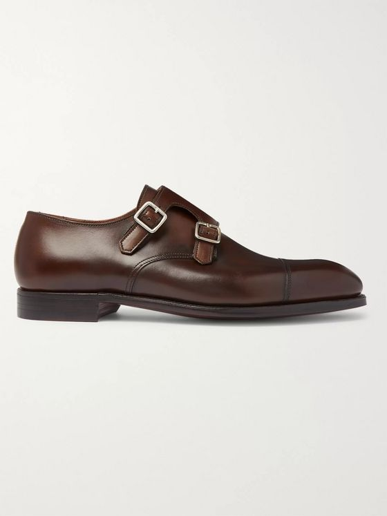 George Cleverley Thomas Cap-Toe Genuine Leather Monk-Strap Shoes