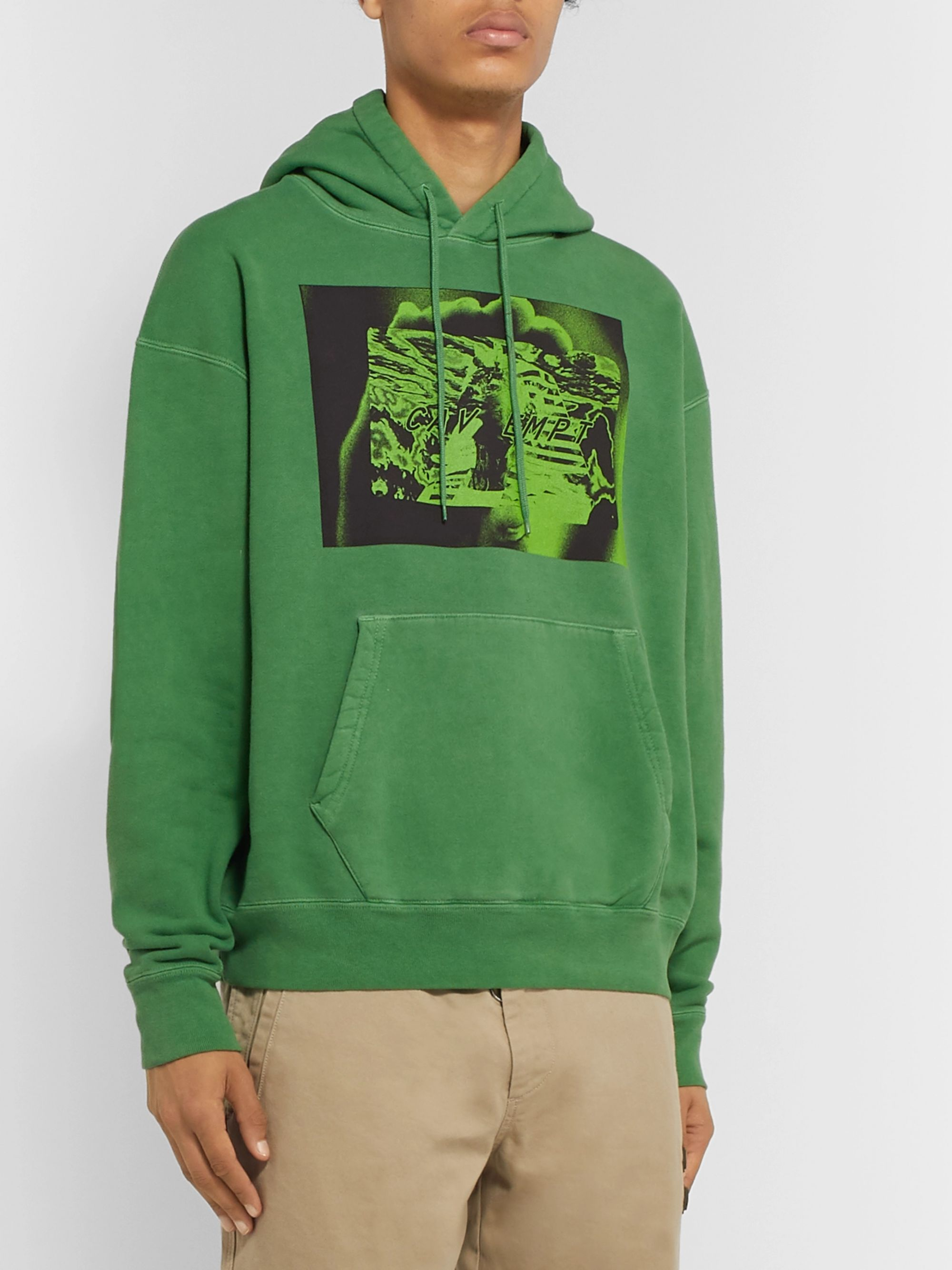 Cav Empt Tut Card Printed Loopback Cotton-Jersey Hoodie