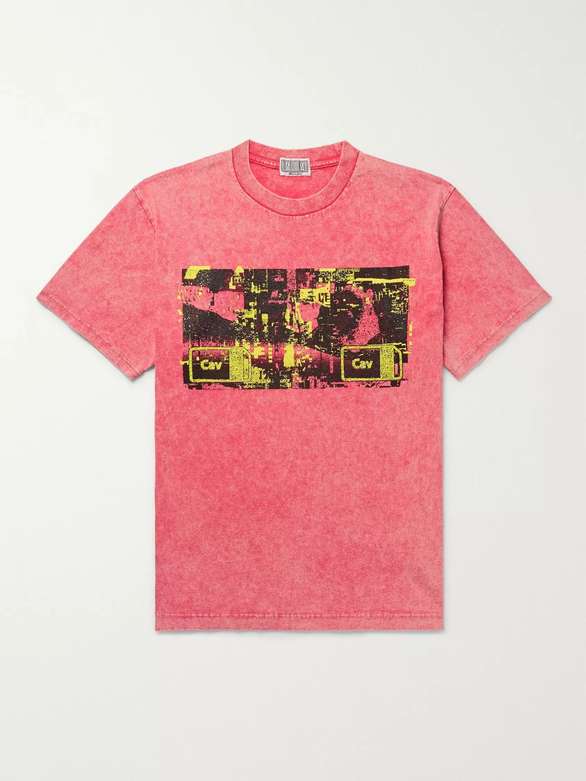 Cav Empt Acid-Washed Printed Cotton-Jersey T-Shirt