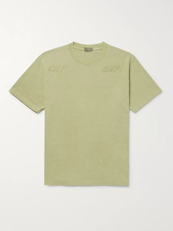 Cav Empt Logo-Embroidered Acid-Washed Cotton-Jersey T-Shirt