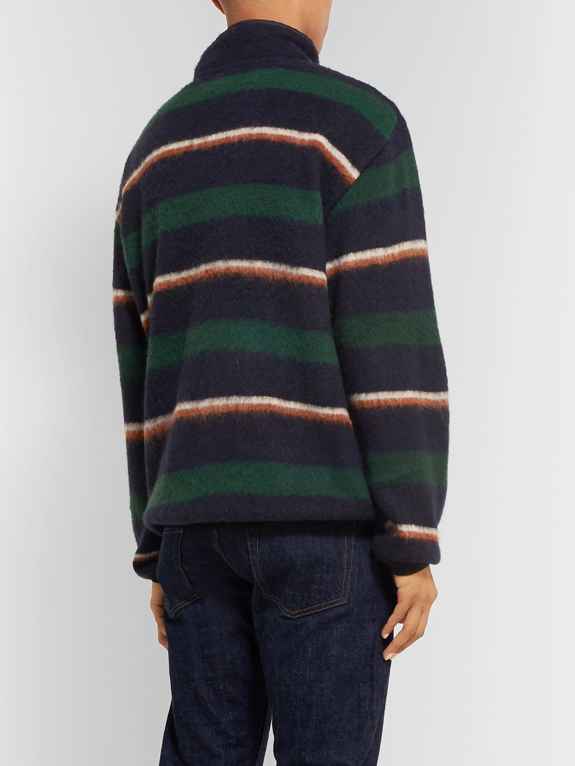 nanamica Shell-Trimmed Striped Knitted Sweater