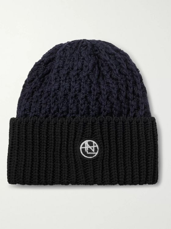 nanamica Logo-Appliquéd Colour-Block Knitted Beanie