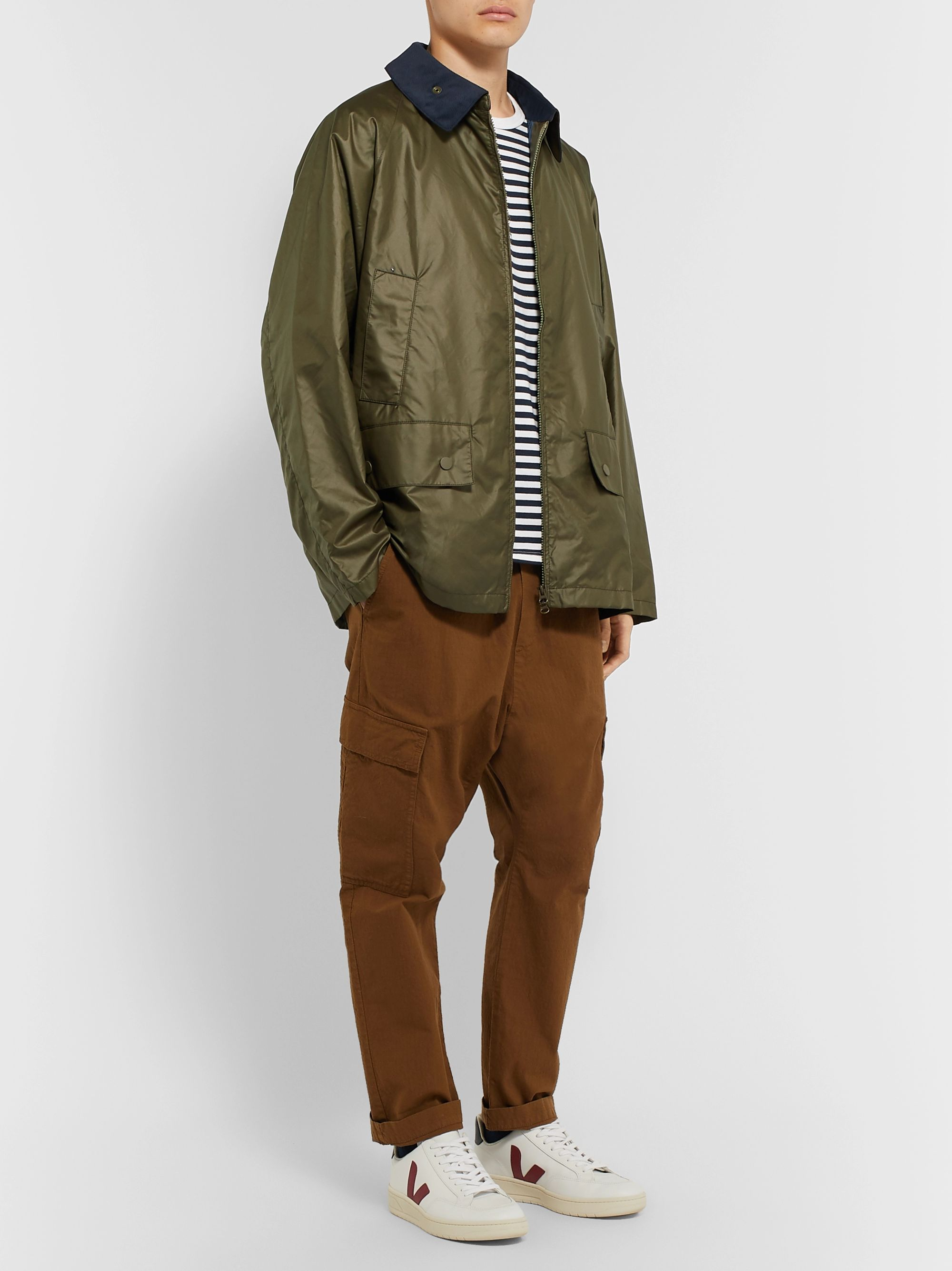 nanamica Corduroy-Trimmed Waxed-Shell Field Jacket