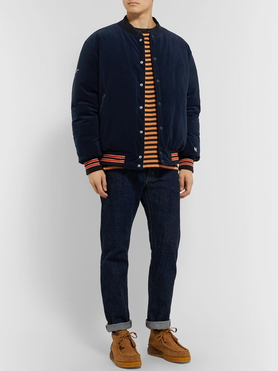 nanamica Stripe-Trimmed Corduroy Down Jacket