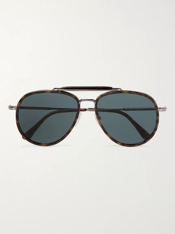 TOM FORD Tripp Aviator-Style Tortoiseshell Acetate and Silver-Tone Sunglasses