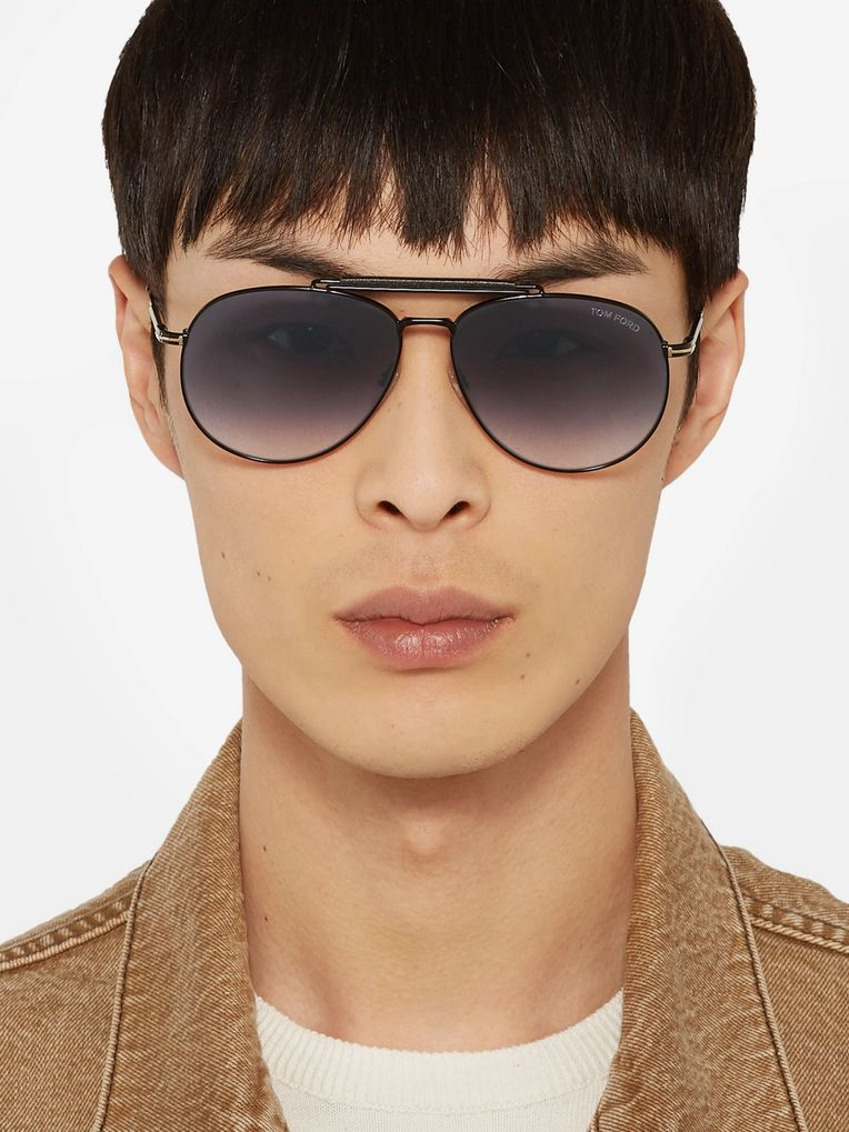 TOM FORD Aviator-Style Leather-Trimmed Gunmetal-Tone Sunglasses