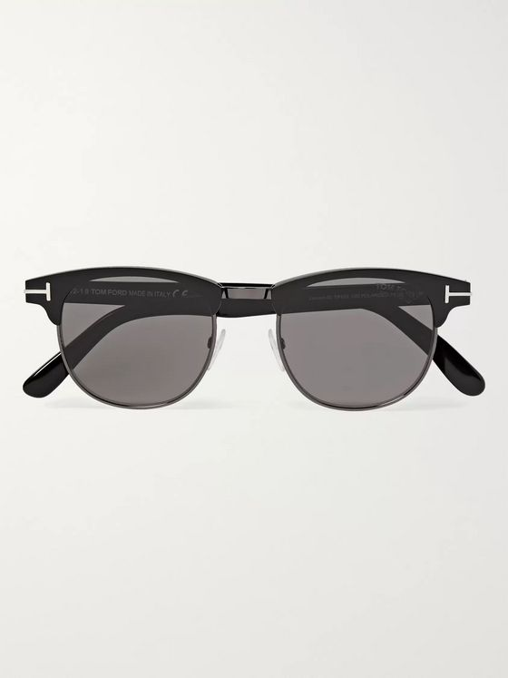 TOM FORD Laurent D-Frame Acetate and Gunmetal-Tone Polarised Sunglasses
