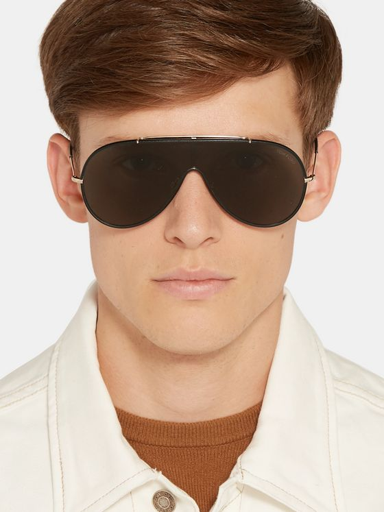 TOM FORD Aviator-Style Leather and Gold-Tone Sunglasses