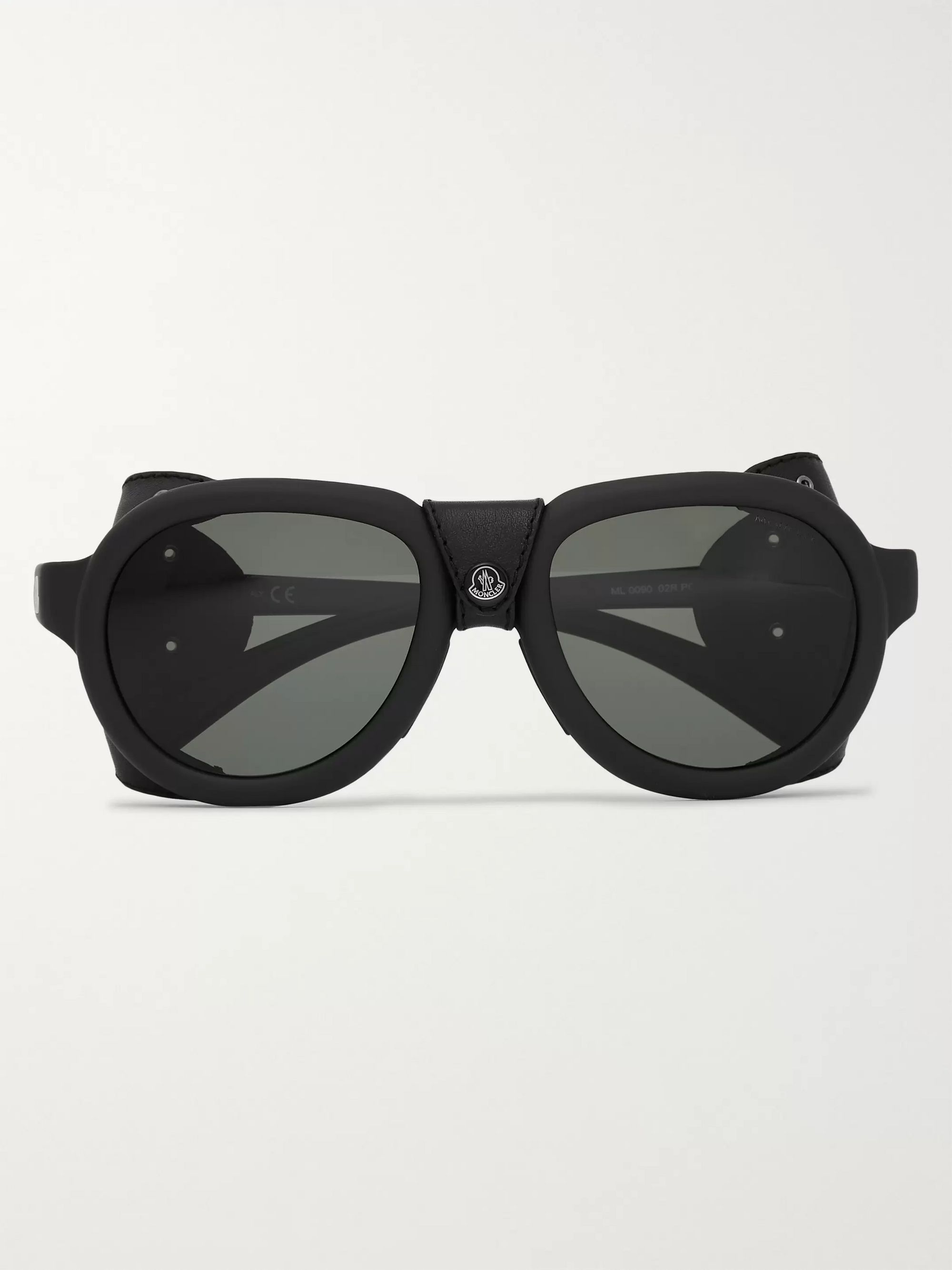 Moncler Round-Frame Leather-Trimmed Acetate Polarised Sunglasses