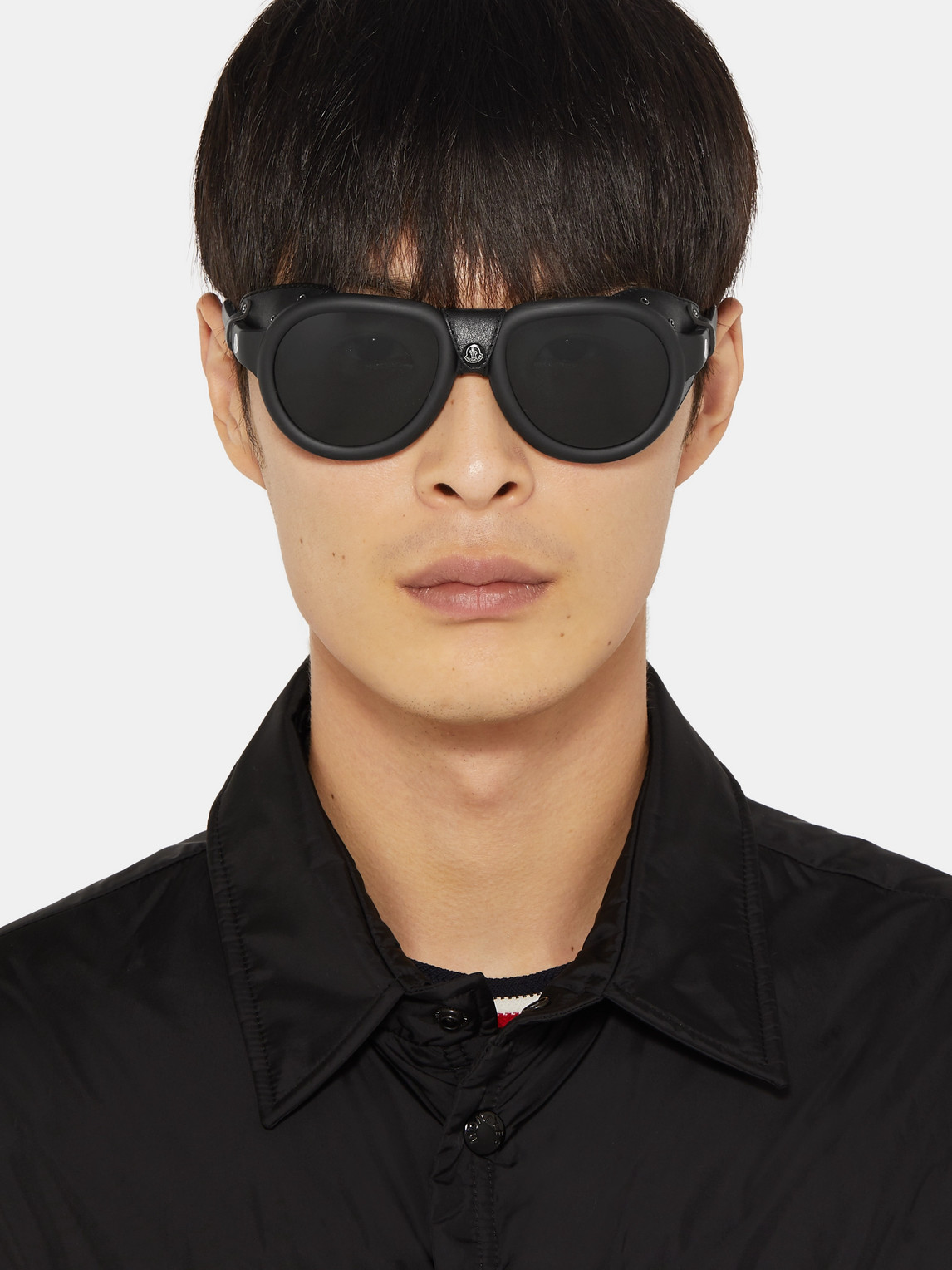 Moncler Sunglasses ROUND-FRAME LEATHER-TRIMMED ACETATE POLARISED SUNGLASSES