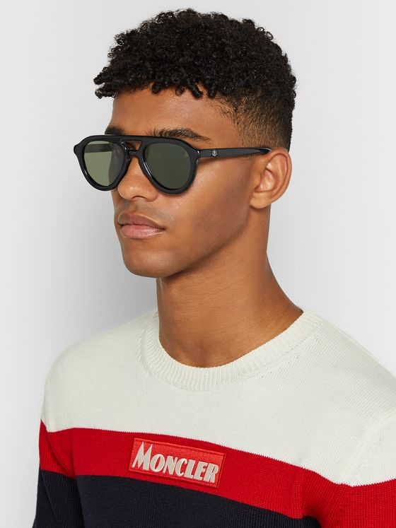 Moncler Aviator-Style Acetate Polarised Sunglasses