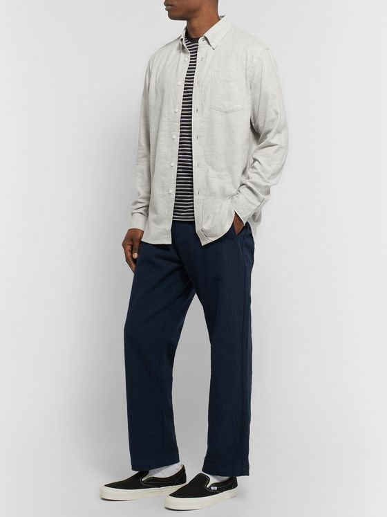 Saturdays NYC Crosby Button-Down Collar Mélange Cotton-Flannel Shirt