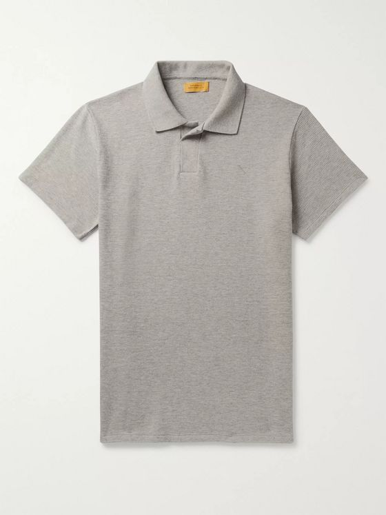 Saturdays NYC Davies Ribbed Mélange Cotton Polo Shirt