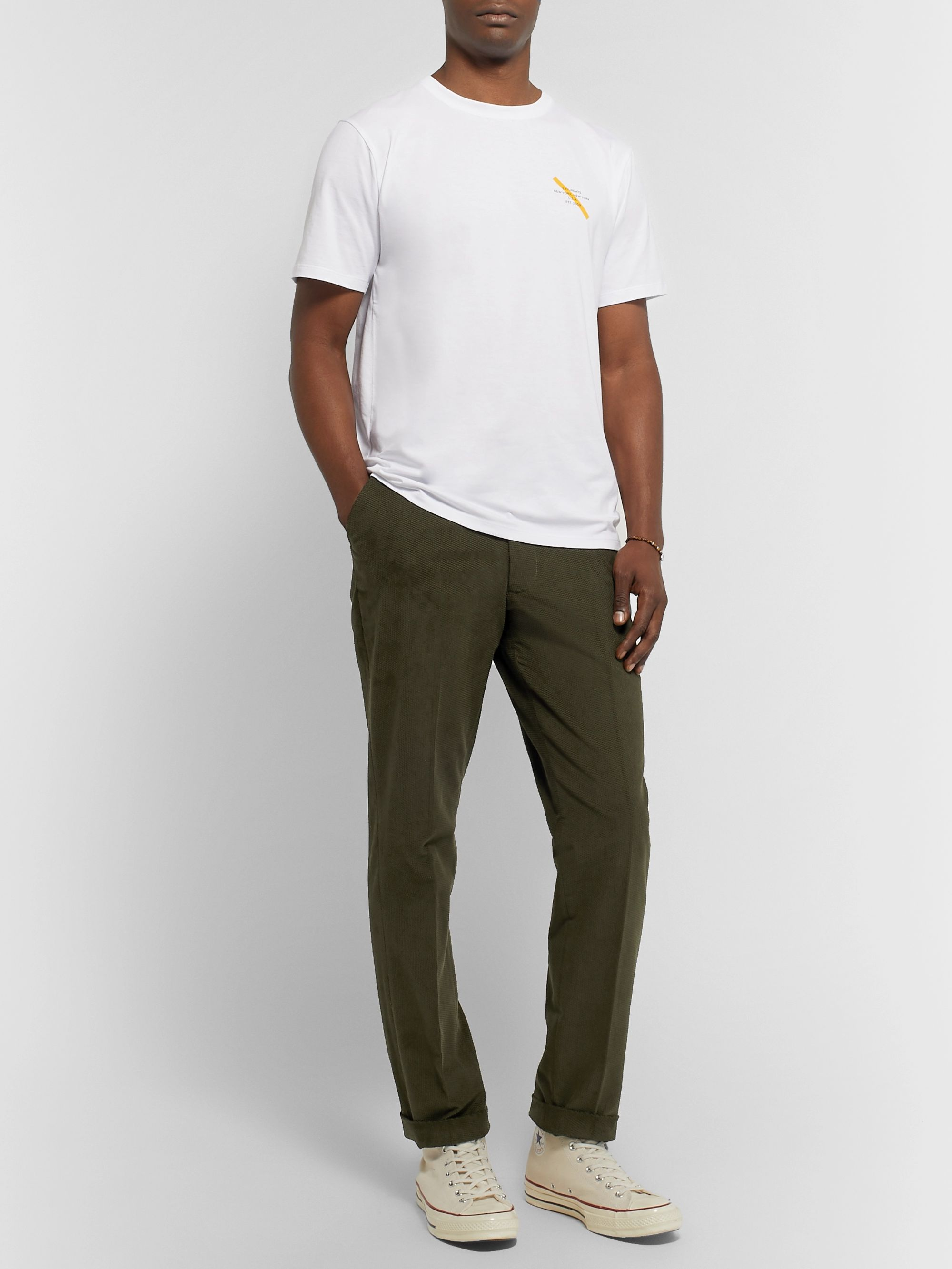 Saturdays NYC Panos Slim-Fit Cotton-Blend Dobby Trousers