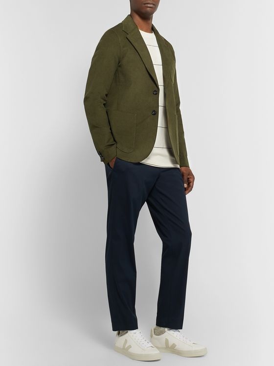 Saturdays NYC Olive-Green Franklin Unstructured Cotton-Blend Dobby Blazer