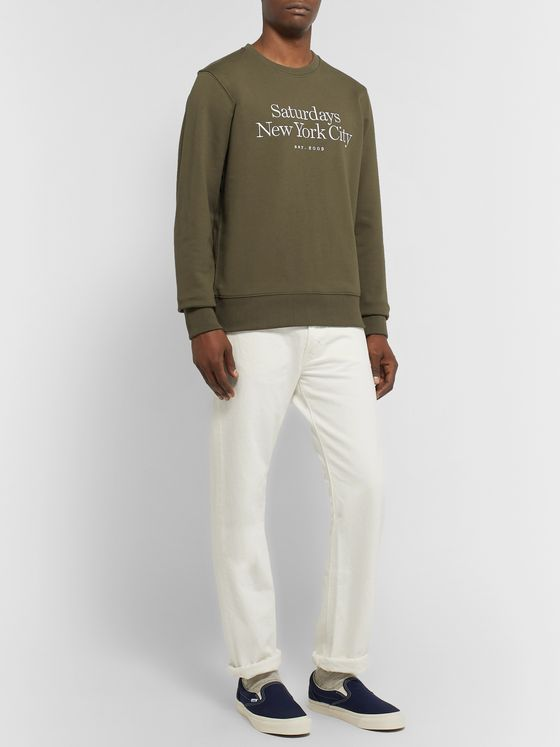 Saturdays NYC Bowery Logo-Embroidered Loopback Cotton-Jersey Sweatshirt