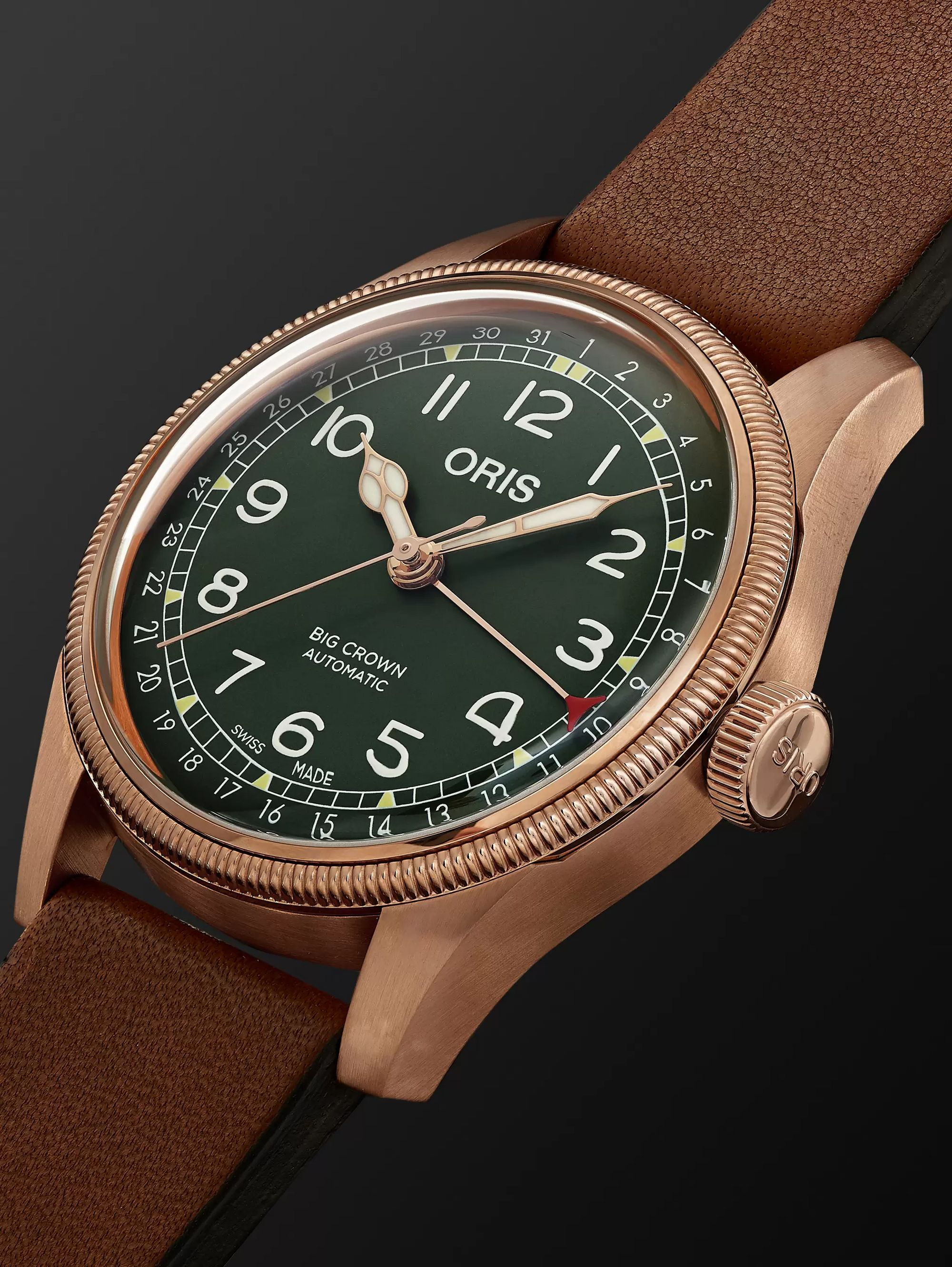 Oris Big Crown Pointer Date Automatic 40mm Bronze and Leather Watch