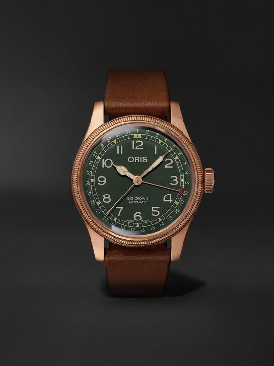 Oris Big Crown Pointer Date Automatic 40mm Bronze and Leather Watch, Ref. No. 01 754 7741 3167-07 5 20 58BR