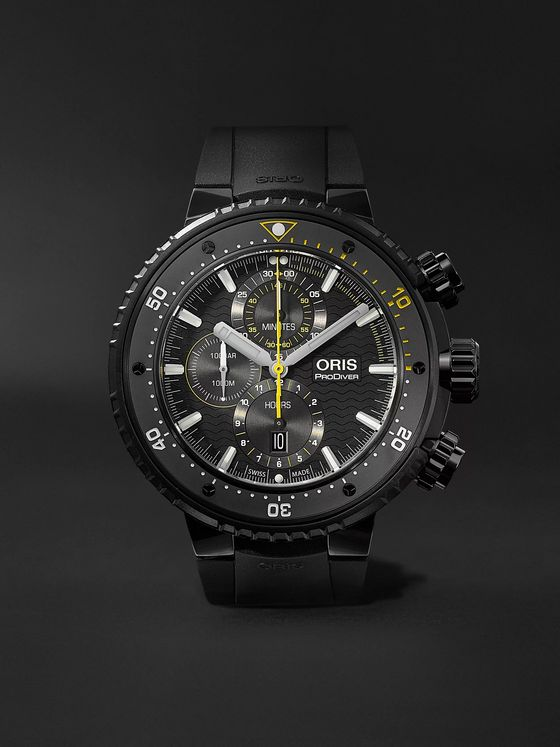 ORIS ProDiver Dive Control Limited Edition Automatic Chronograph 51mm DLC-Coated Titanium and Rubber Watch, Ref. No. 01 774 7727 7784-Set