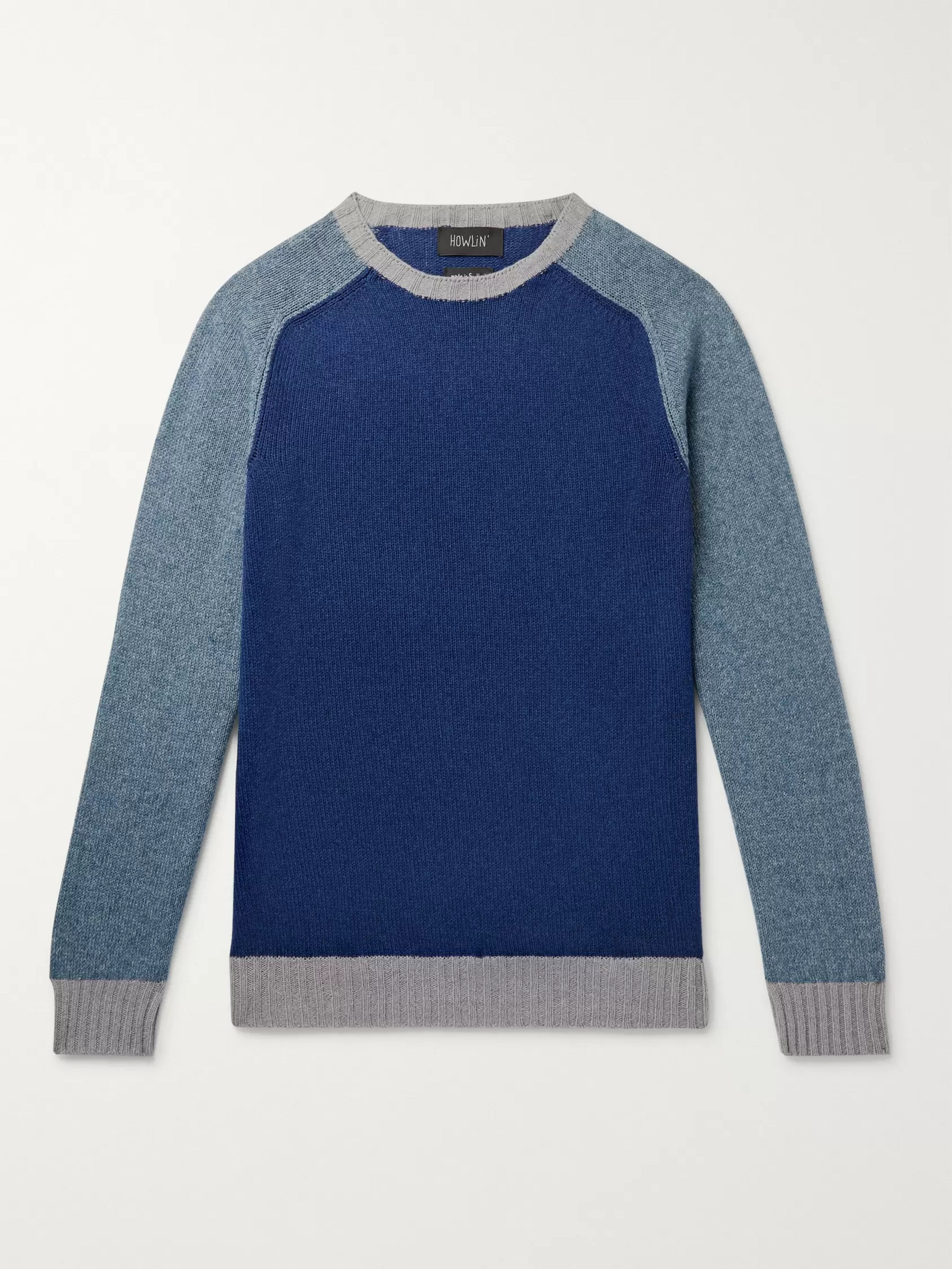 Howlin' Colour-Block Lambswool And Cotton-Blend Sweater