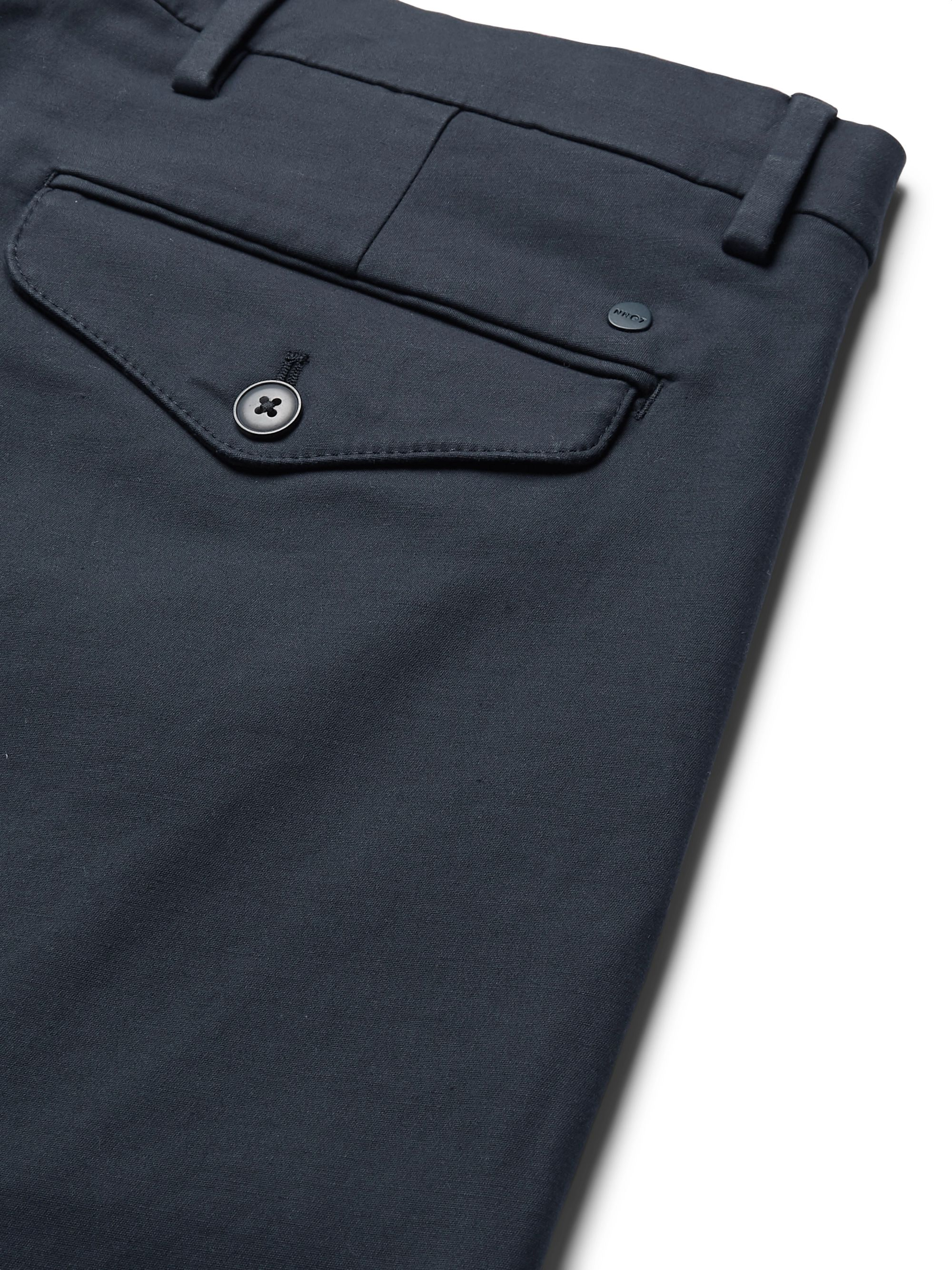 NN07 Navy Scott Slim-Fit Tapered Stretch-Cotton Trousers