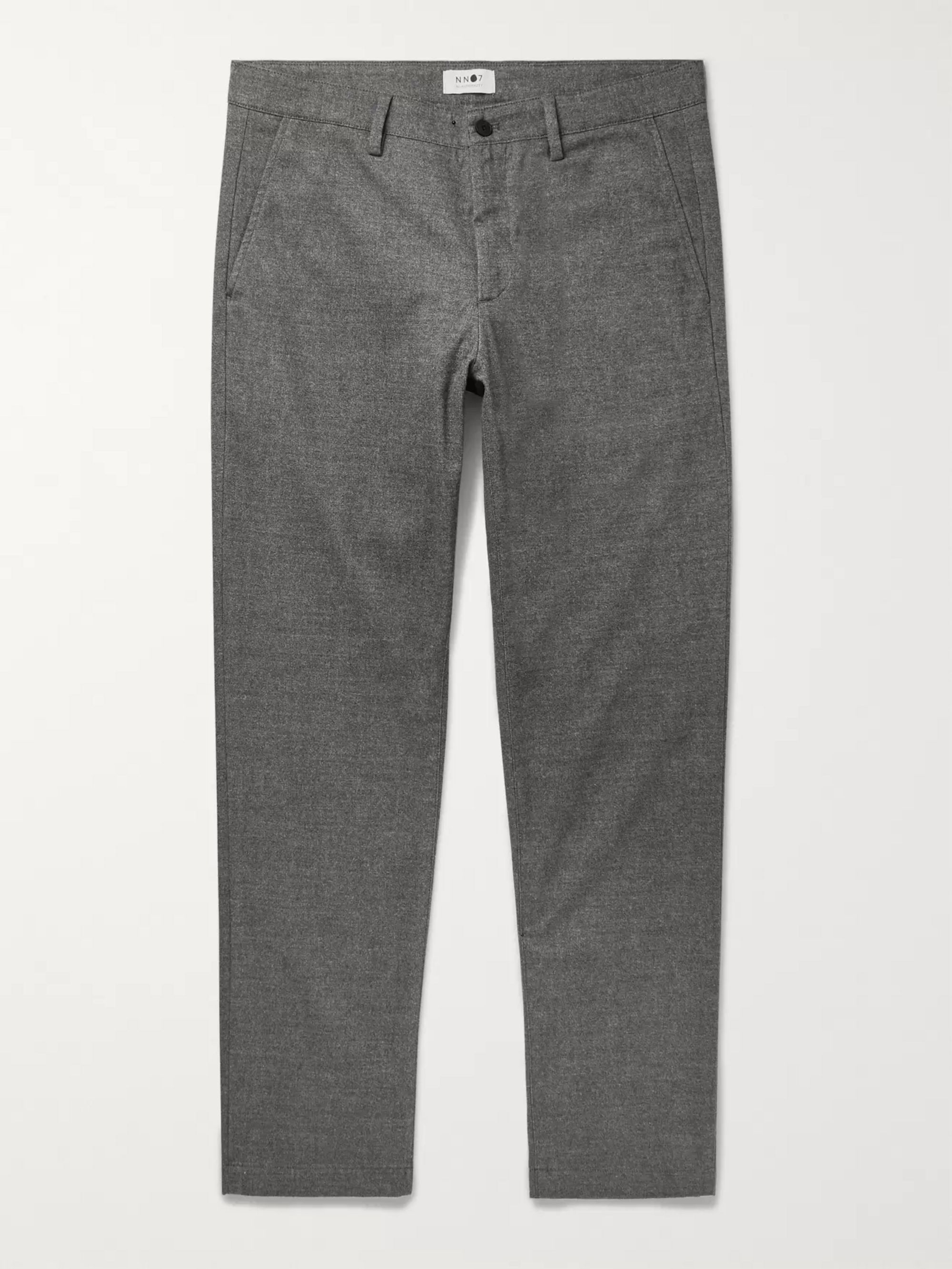 NN07 Grey Karl Tapered Mélange Cotton-Blend Trousers