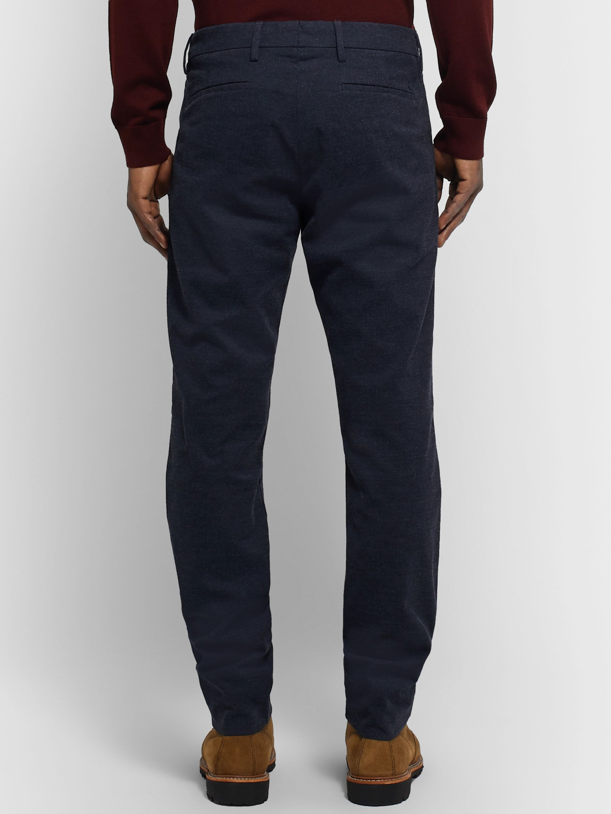 NN07 Midnight-Blue Theo Tapered Herringbone Cotton-Blend Trousers