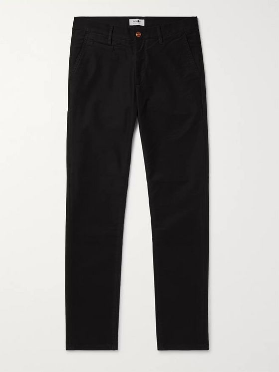 NN07 Black Slim-Fit Stretch-Twill Chinos