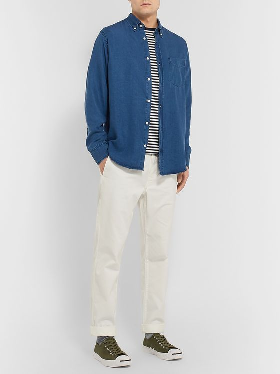 NN07 Levon Button-Down Collar Indigo-Dyed Tencel Shirt
