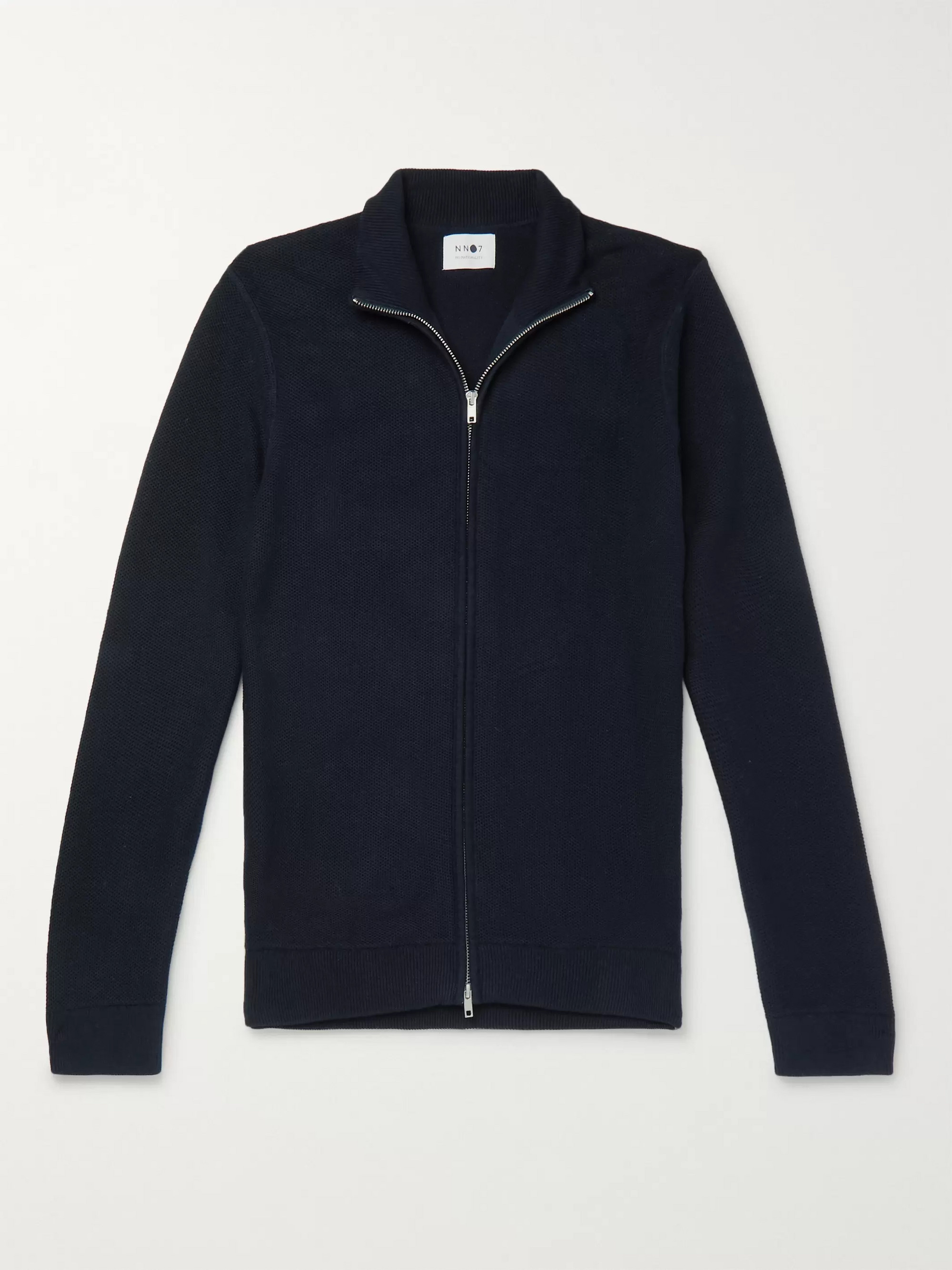 NN07 Patrick Honeycomb-Knit Cotton Zip-Up Cardigan