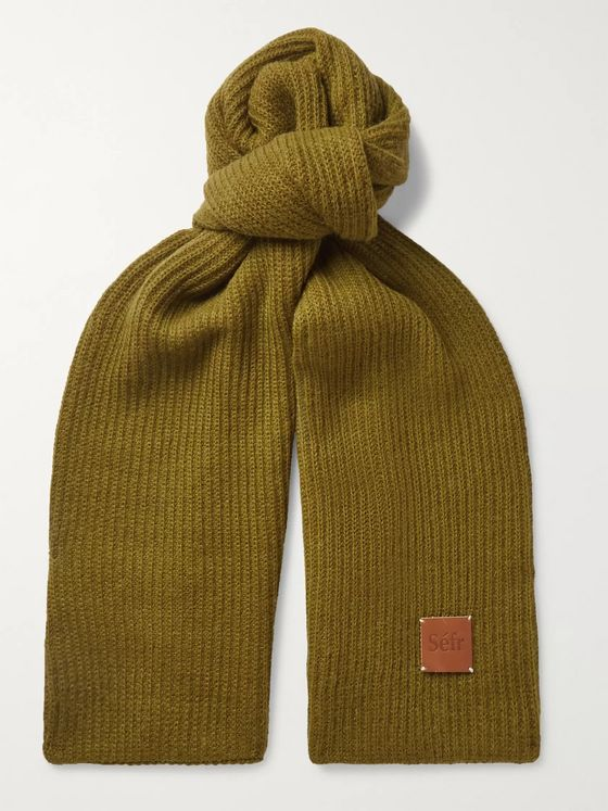 Séfr Logo-Appliquéd Ribbed-Knit Scarf