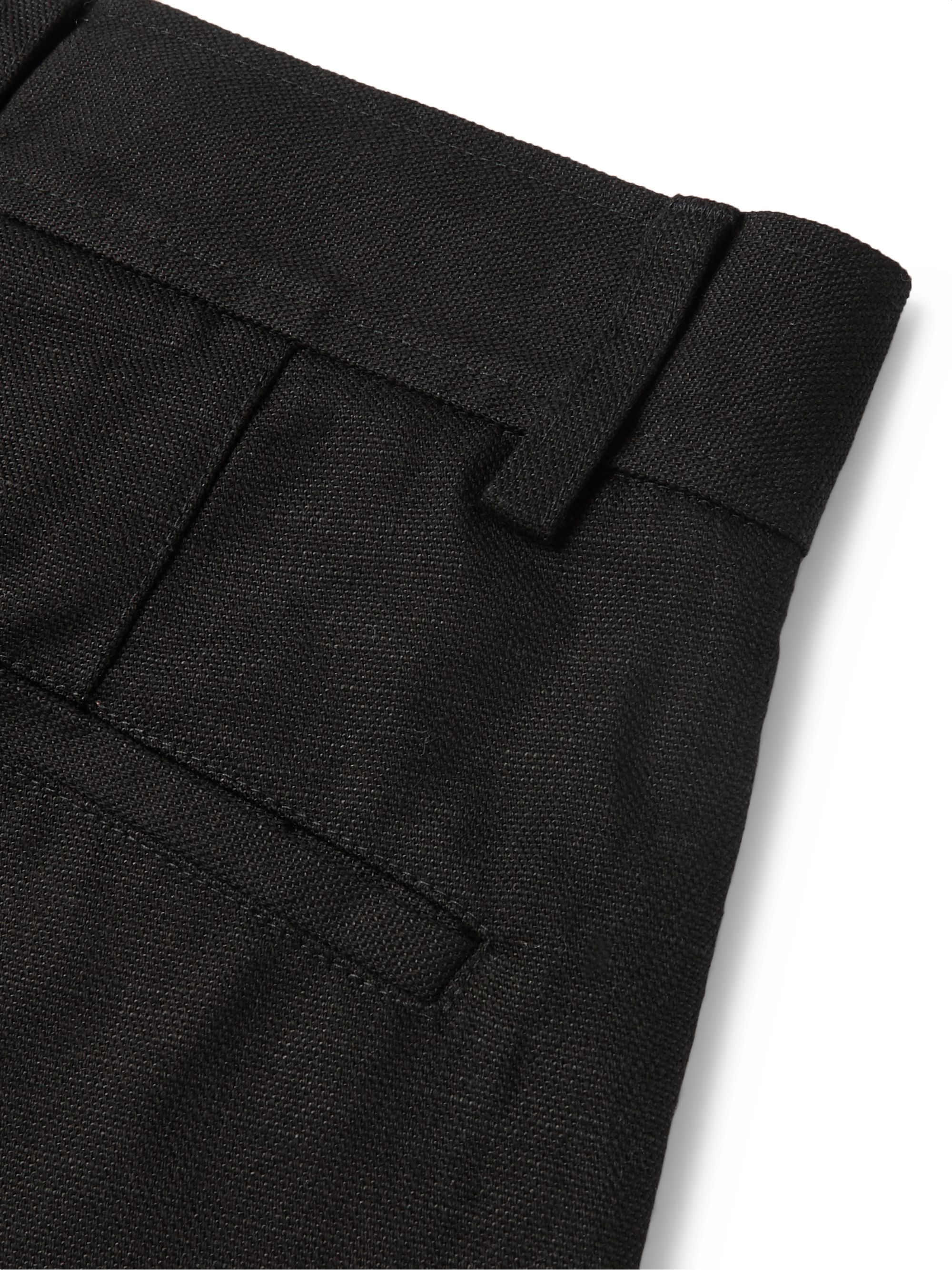 Séfr Black Mike Cotton and Linen-Blend Trousers