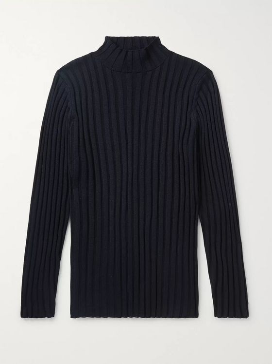 Séfr Jay Slim-Fit Ribbed Merino Wool-Blend Mock-Neck Sweater