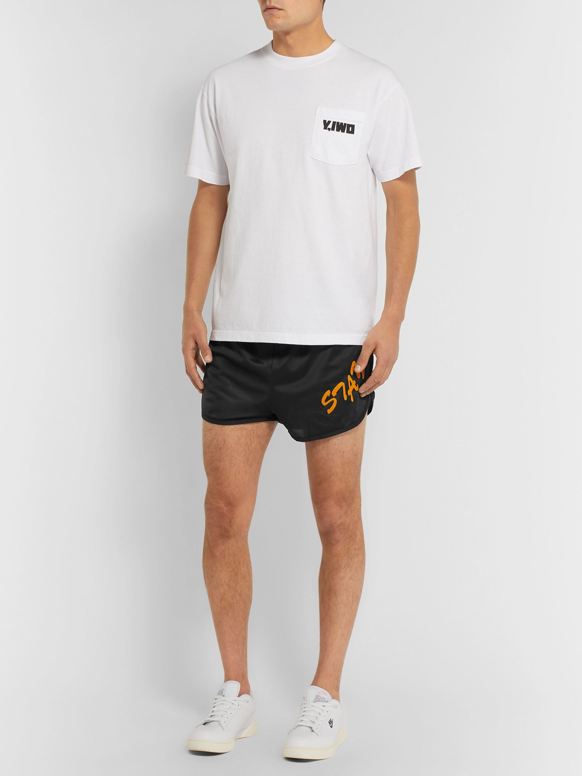 Y,IWO Slim-Fit Printed Nylon Shorts