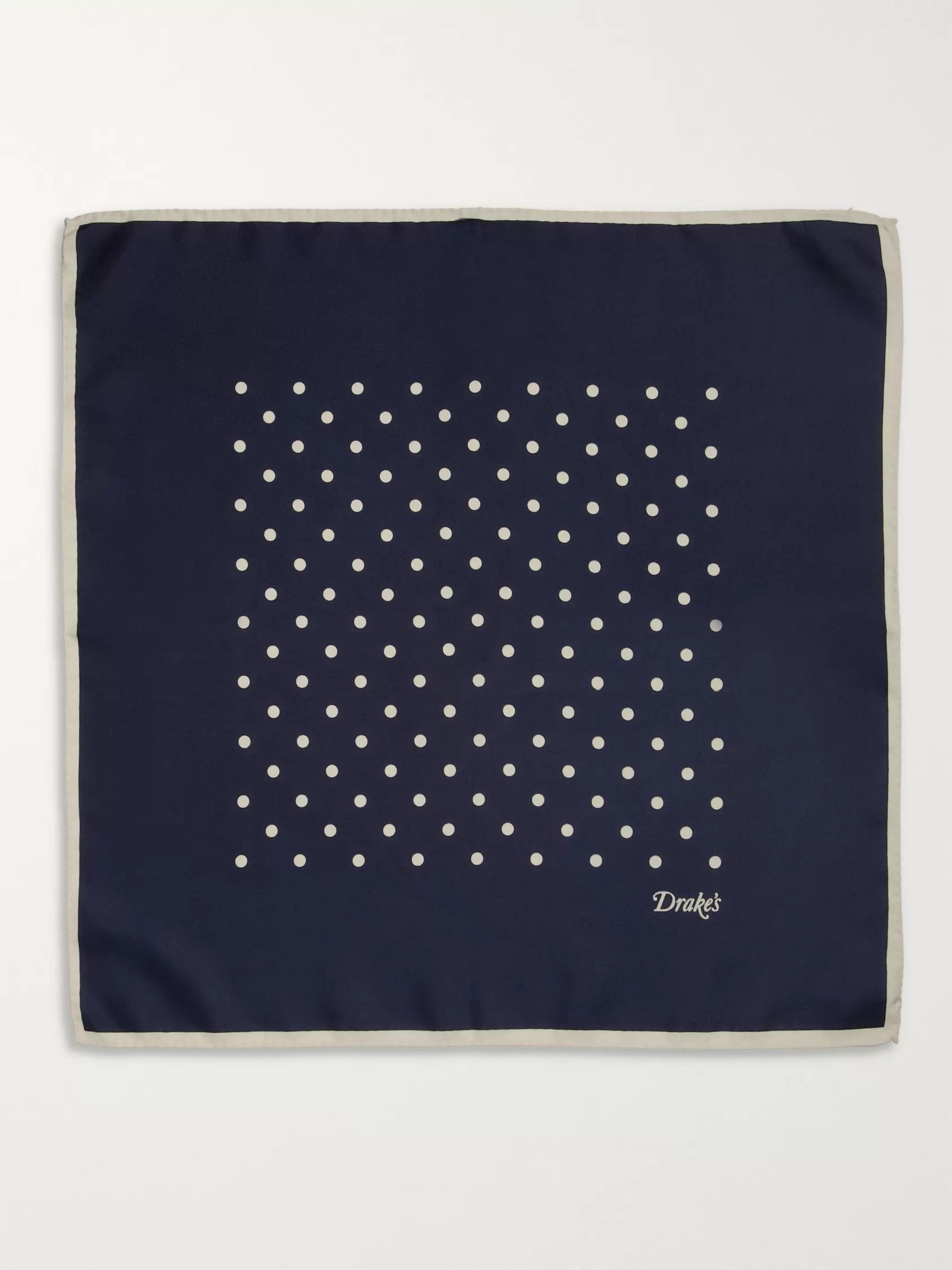 Drake's Polka-Dot Silk Pocket Square