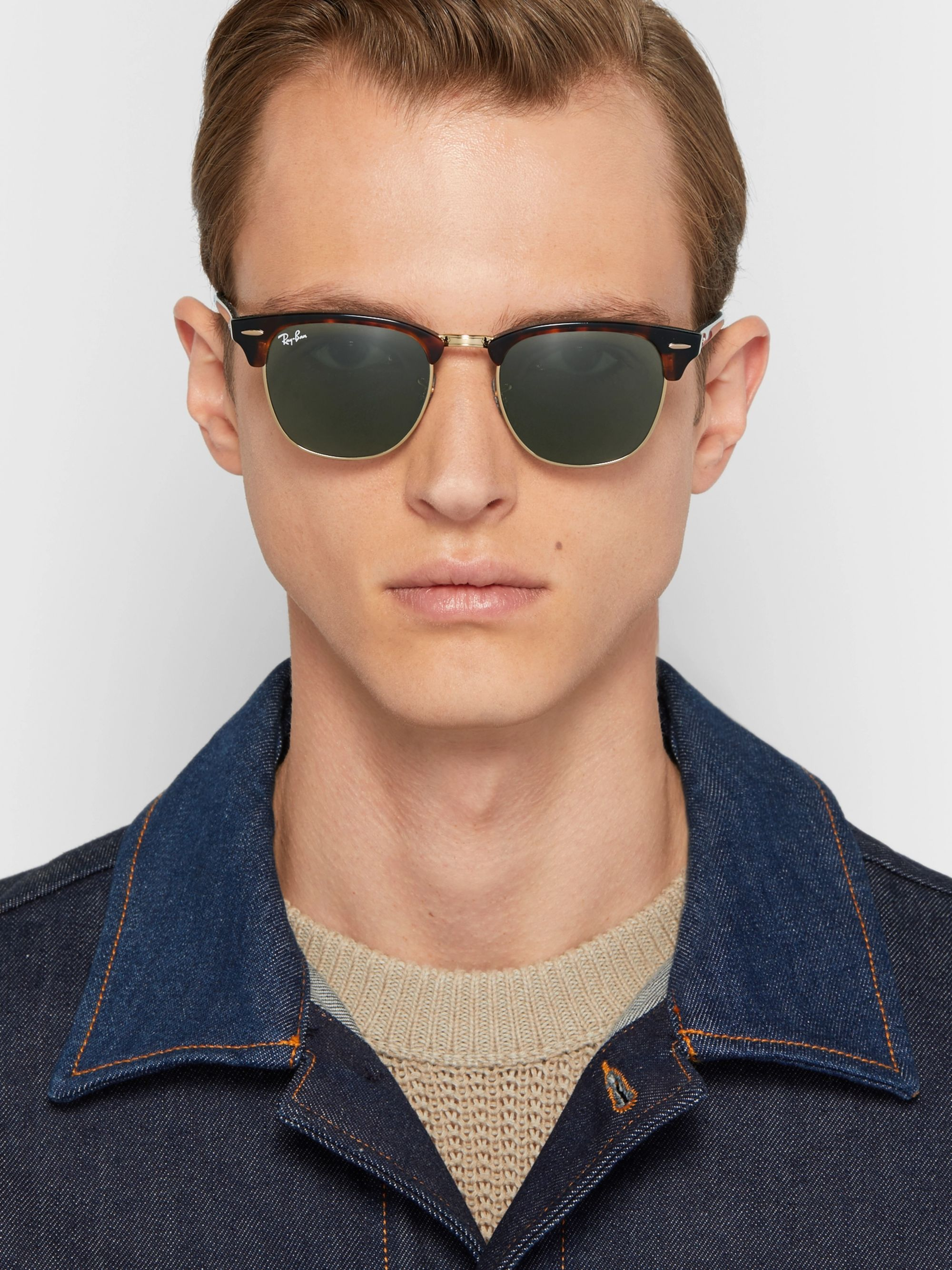 Ray-Ban Clubmaster Acetate and Gold-Tone Sunglasses