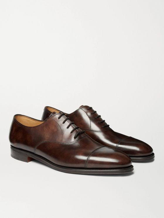 JOHN LOBB City II Burnished-Leather Oxford Shoes