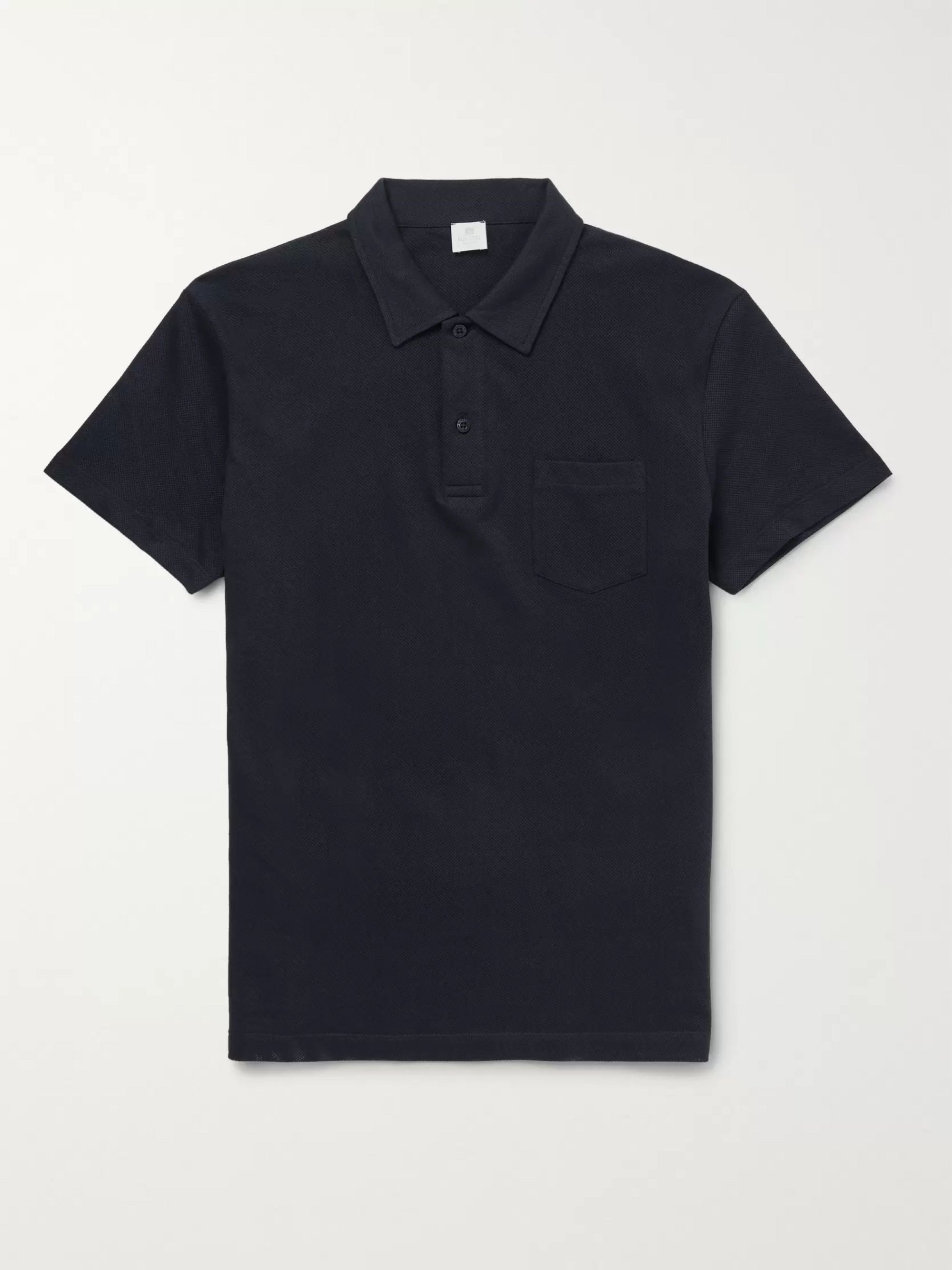 Sunspel Riviera Slim-Fit Mélange Cotton-Mesh Polo Shirt